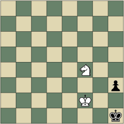 King and Knight vs King and Pawn mate in six