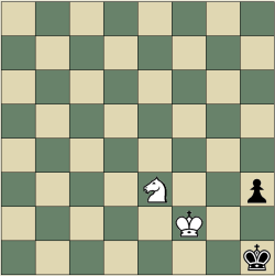 King and Knight vs King and Rook Pawn mate in two